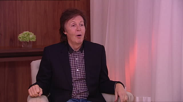 interior shot sir paul mccartney former member of the beatles talks about creating new material he says it isn't difficult to do what is difficult is... - paul mccartney stock videos and b-roll footage