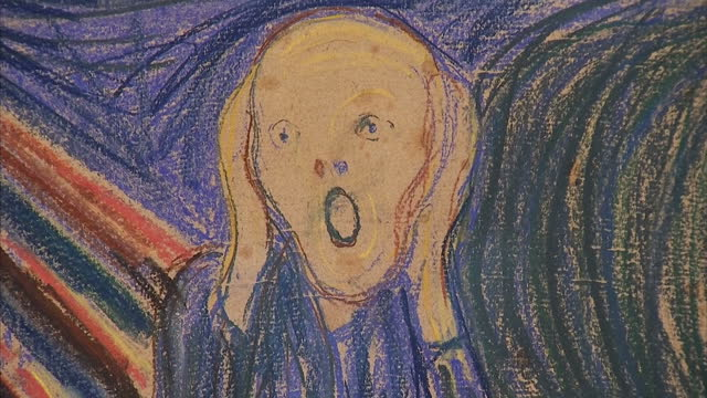 interior shot sothebys sign interior shots edvard munch's 'the scream' on display in sothebys auction house before its sale in new york interior... - サザビーズ点の映像素材/bロール