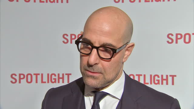 Interior shot Stanley Tucci actor on Spotlight red carpet talks about the subject matter of the film and how he prepared for the role on January 20...
