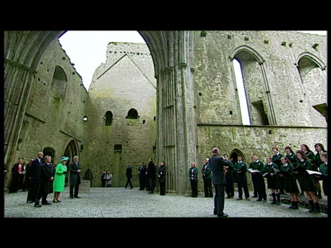 interior shot the queen prince philip escorted by brendan howlin minister for public expenditure reform de eugene keane of the historical properties... - the queen stock videos and b-roll footage