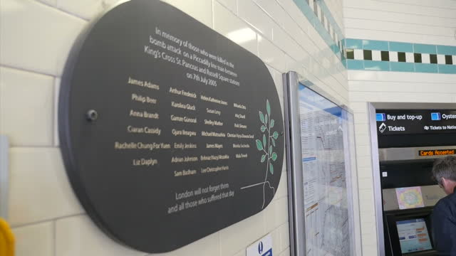 interior shots 7/7 memorial plaque on wall at russell square station to remember victims of the london 7/7 bombings on may 05 2015 in london england - memorial plaque stock videos and b-roll footage