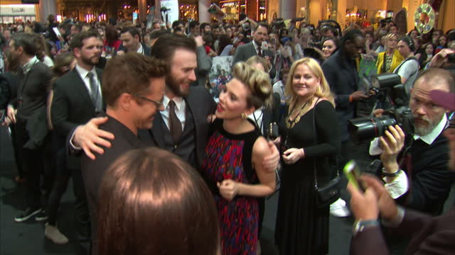 Interior shots actor Chris Evans Scarlet Johansson Robert Downey Jr red carpet attending premiere of 'The Avengers Age of Ultron' on April 21 2015 in...