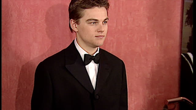 Interior shots actor Leonardo Dicaprio at Premiere of Man in the Iron Mask Film on March 19 1998 in London England