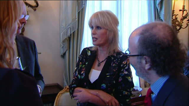 interior shots actress joanna lumley talking with guests at charity reception prince charles hosts a reception for the samaritans charity at clarence... - joanna lumley stock videos & royalty-free footage
