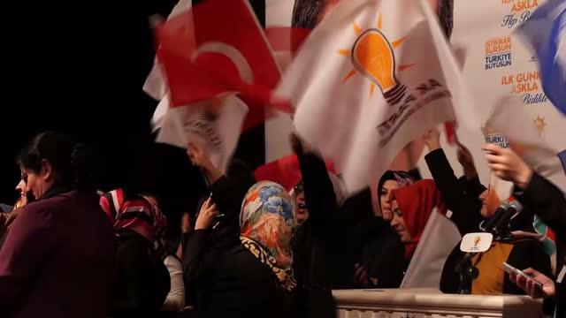 interior shots akp party supporters in hall celebrating victory in the general election vote supporters waving flags and chanting on november 02 2015... - political party stock videos & royalty-free footage