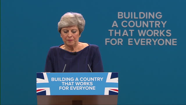 Interior shots and cutaways as Prime Minister Theresa May addresses the Conservative party conference>> on October 04 2017 in Manchester England