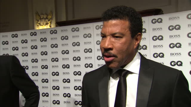Interior shots and interview artist musician Lionel Richie at GQ Awards at Royal Opera House on September 08 2015 in London England