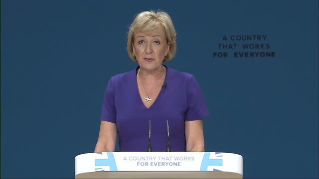 Interior shots Andrea Leadsom MP Secretary of State for Environment Food and Rural Affairs making speech at conference on October 03 2016 in...