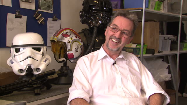 interior shots andrew ainsworth shepperton design studios talks about trying to sell stormtrooper masks at the time the star wars films came out and... - shepperton studios stock videos & royalty-free footage