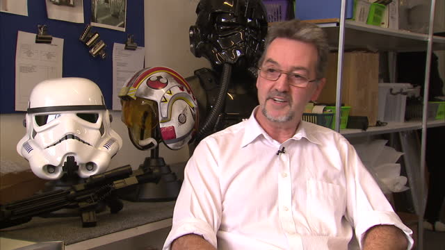 interior shots andrew ainsworth shepperton design studios talks about how he got into producing stormtrooper masks and costumes for the star wars... - shepperton studios stock videos & royalty-free footage