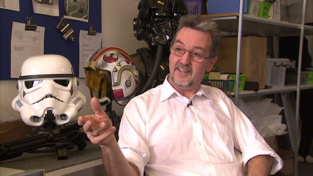 interior shots andrew ainsworth shepperton design studios talks about being sued by lucasfilm for producing stormtrooper masks on october 31 2012 in... - shepperton studios stock videos & royalty-free footage