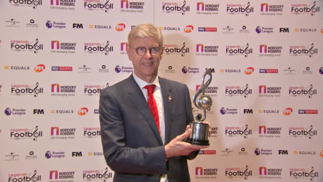 interior shots arsene wenger photoshoot with legends of football award on 7th october 2019 at grosvenor house hotel london - アーセン・ベンゲル点の映像素材/bロール