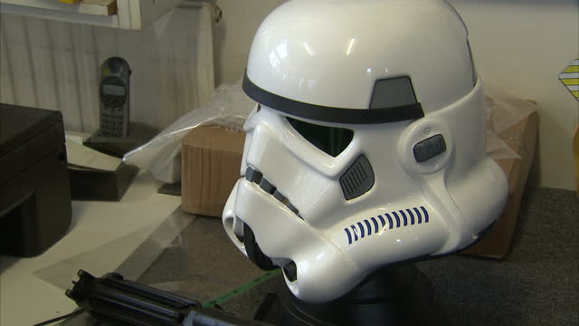 interior shots authentic stormtrooper face mask produced by andrew ainsworth shepperton design studios made using the same moulds used to produce... - shepperton studios stock videos & royalty-free footage