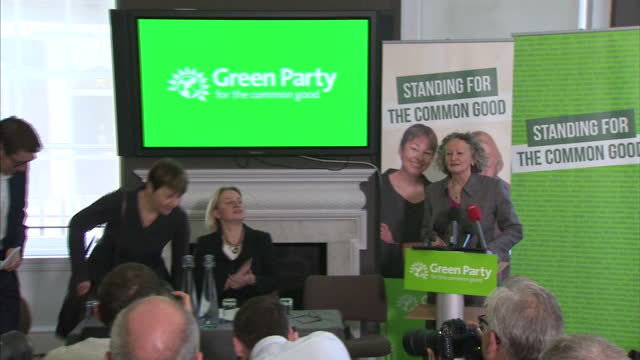 interior shots baroness jenny jones caroline lucas mp natalie bennett darren hall at green party campaign launch green party members at campaign... - vox populi stock videos and b-roll footage