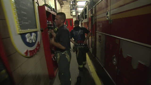 interior shots battalion 9 of the new york city fire department as firefighters relax on their down time on july 20 2011 in new york united states - fire department of the city of new york stock videos and b-roll footage