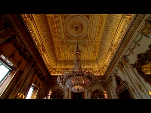 interior shots buckingham palace state room showing ornate furniture portraits on the wall sky news royal wedding buildup footage on march 22 2011 in... - indoors stock videos & royalty-free footage