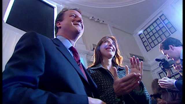 interior shots cameron leaves stage after speech kisses wife samantha cameron and is photographed george osborne also present on september 29 2005 in... - 2005 stock videos and b-roll footage