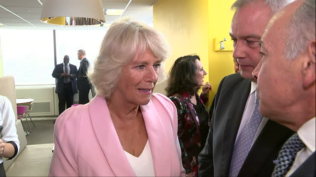 interior shots camilla, duchess of cornwall meeting eamonn holmes and alastair stewart on visit to itv studios for 60th anniversary. on september 09,... - エイモン ホームズ点の映像素材/bロール
