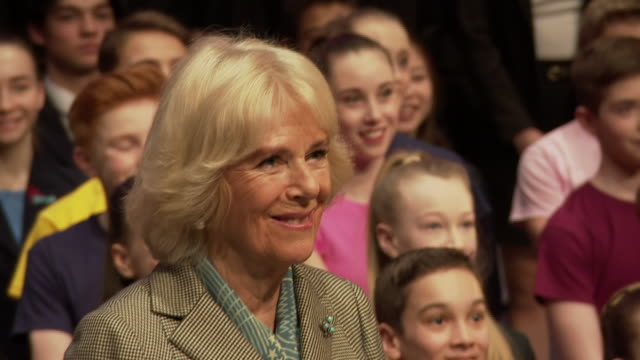 interior shots camilla duchess of cornwall posing onstage with pupils for a group picture camilla signs the visitors' book alongside young ballet... - dance studio stock videos & royalty-free footage