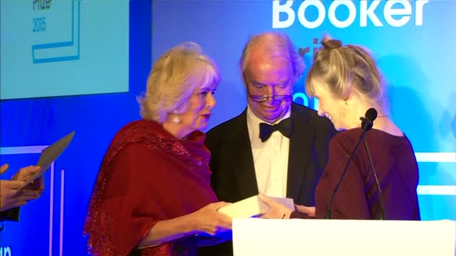 interior shots camilla duchess of cornwall presenting anne tyler author with award at the 2015 booker prize awards at guildhall london on october 13... - booker prize stock-videos und b-roll-filmmaterial