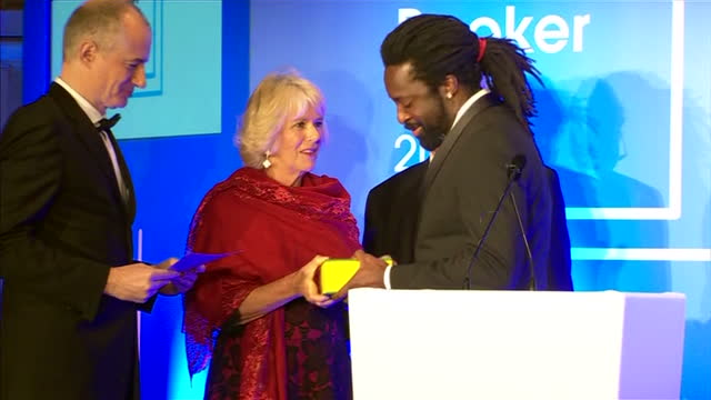 interior shots camilla duchess of cornwall presenting marlon james author with the 2015 booker prize award at guildhall london on october 13 2015 in... - booker prize stock-videos und b-roll-filmmaterial