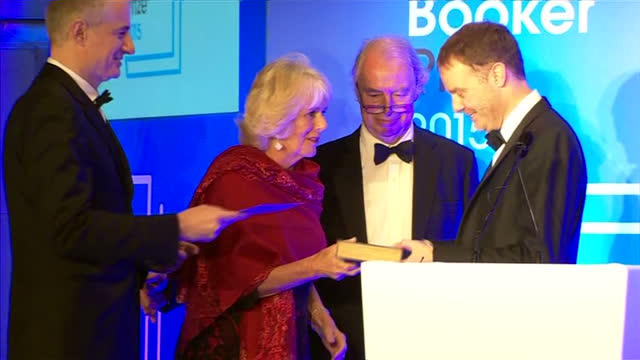 interior shots camilla duchess of cornwall presenting tom mccarthy author with award at the 2015 booker prize awards at guildhall london on october... - booker prize stock-videos und b-roll-filmmaterial