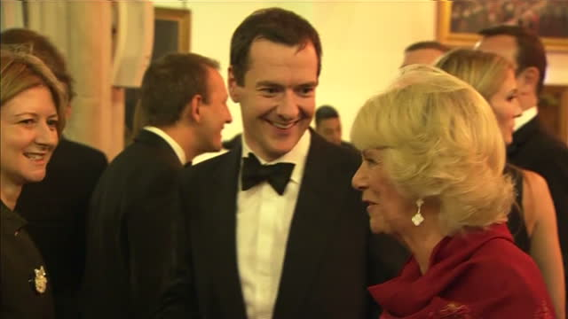 interior shots camilla duchess of cornwall talking with george osborne mp chancellor of the exchequer at the 2015 booker prize award ceremony at... - booker prize stock-videos und b-roll-filmmaterial