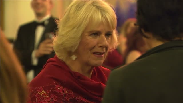 interior shots camilla duchess of cornwall talking with guests at 2015 booker prize award ceremony at guildhall london on october 13 2015 in london... - booker prize stock-videos und b-roll-filmmaterial
