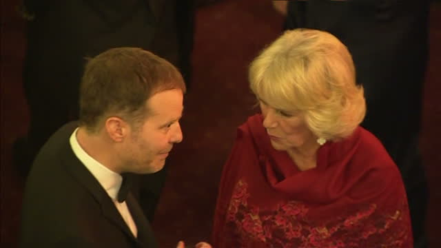 interior shots camilla duchess of cornwall talking with tom mccarthy author at the 2015 booker prize award ceremony at guildhall london on october 13... - booker prize stock-videos und b-roll-filmmaterial