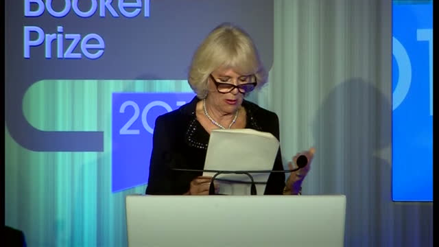 interior shots camilla duchess of cornwall thanks the crowd for crowd and the judges for their contributions and walks off stage at end of speech on... - booker prize stock-videos und b-roll-filmmaterial