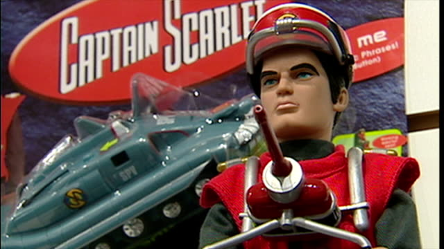 interior shots captain scarlet collectible figures and toys on display in toy shop on january 03 2002 in london england - captain scarlet stock videos and b-roll footage