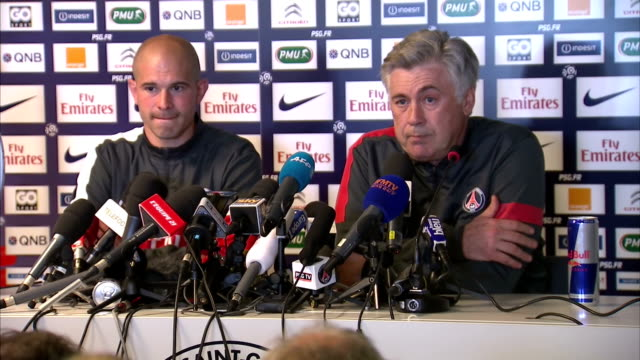 interior shots carlo ancelotti paris saintgermain manager talks about david beckham's quality professionalism carlo ancelotti talks about david... - major league soccer stock videos and b-roll footage