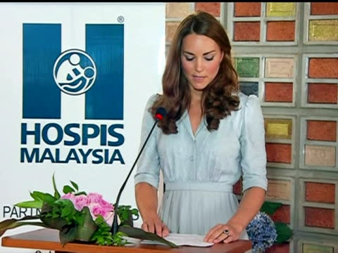 interior shots catherine duchess of cambridge gives her first international public speech during a visit to a hospice in kuala lumpur catherine gives... - キャサリン妃点の映像素材/bロール