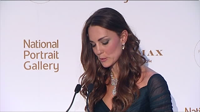 interior shots catherine duchess of cambridge giving speech at national portrait gallery gala evening introduced by director of the national portrait... - speech stock videos & royalty-free footage