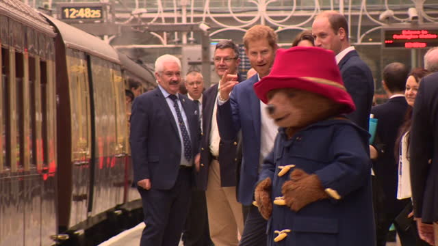 Interior shots Catherine Duchess of Cambridge Prince William Duke of Cambridge and Prince Harry walking with Paddington 2 film cast including Hugh...