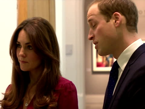 Interior shots Catherine Duchess of Cambridge Prince William meet chat with gallery staff during a tour of the National Portrait Gallery William Kate...