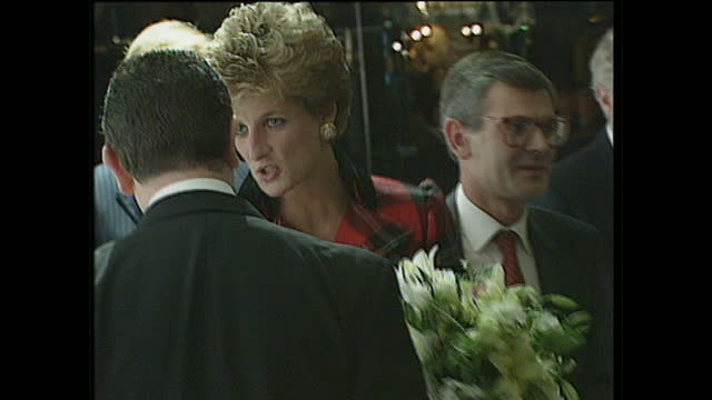 interior shots champion children award ceremony, princess diana mingles in crowd after being presented an award by nick owen, wearing tartan suit and... - dorchester hotel stock videos & royalty-free footage
