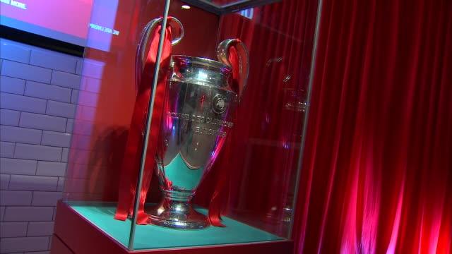vídeos y material grabado en eventos de stock de interior shots champions league trophy at liverpool football club trophy room 11th june 2019 liverpool club - liga de campeones
