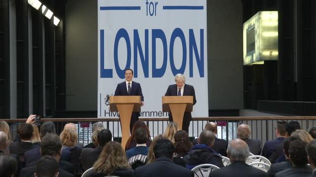 Interior Shots Chancellor George Osborne Mayor of London Boris Johnson arriving to give Long Term Economic Plan for London Interior shots Chancellor...