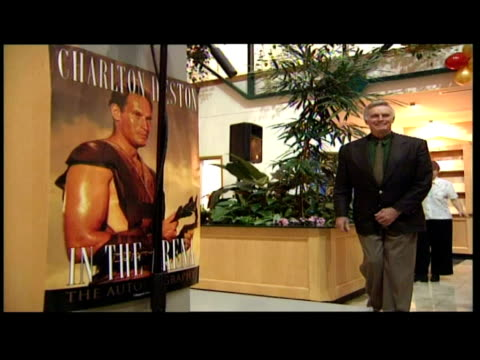 interior shots charlton heston makes speech at launch of autobiography ' in the arena ' includes shots of heston's wife lydia marie clarke in audience - lydia clarke stock videos & royalty-free footage