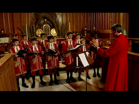 interior shots choirboys from the choir of her majesty's chapel singing in rehearsal inside st james' palace chapel royal directed by choirmaster... - 50 seconds or greater stock videos & royalty-free footage