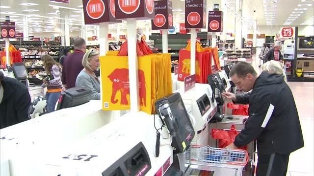 Interior shots customers using self service checkouts at a Sainsbury's supermarket in Sydenham South London Sainsbury's reported likeforlike sales...