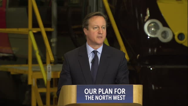 Interior shots David Cameron Leader of Conservative Party Prime Minister addressing audience at Arriva Traincare in Crewe Chancellor George Osborne...
