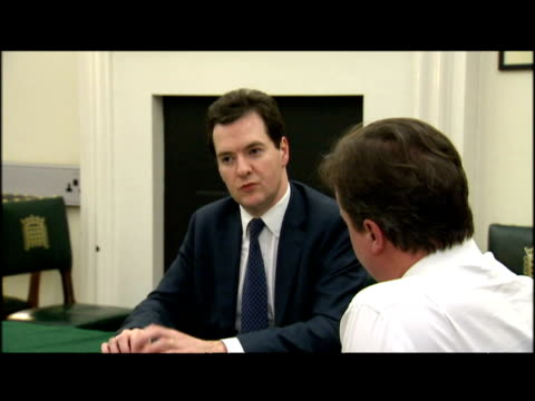 interior shots david cameron sat in discussion with his budget team including george osborne theresa may kenneth clarke alastair darling is preparing... - david cameron politician stock videos & royalty-free footage