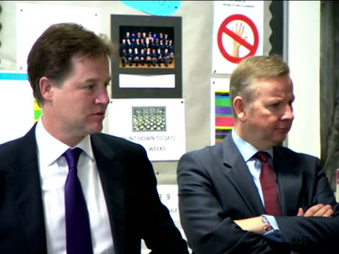 interior shots deputy prime minister nick clegg & education secretary michael gove meet teachers & pupils in classroom during a visit to burlington... - general certificate of secondary education stock videos & royalty-free footage
