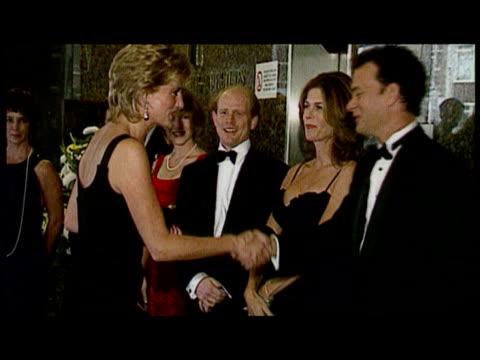 Interior shots Diana Princess of Wales meeting Ron Howard Tom Hanks with wife Rita Wilson Exterior shots Diana Princess of Wales collects flowers...