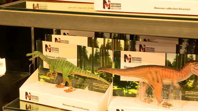 interior shots dinosaur toys on display in gift shop at the natural history museum with children looking at toys. on january 04, 2017 in london,... - ギフトショップ点の映像素材/bロール