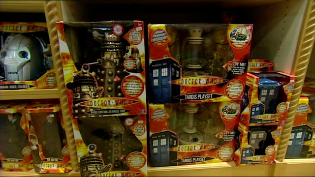 interior shots doctor who toys on display on shelves in toy shop. includes characters from the film. on december 31, 2007 in london, england. - doctor who stock videos & royalty-free footage
