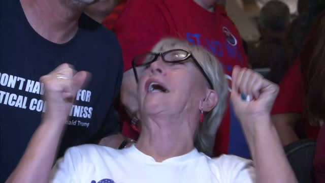 Interior shots Donald Trump supporters watching US Presidential Election coverage and celebrating Donald Trump's victory Some supporters with Donald...