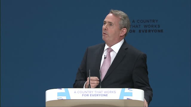 interior shots dr liam fox mp secretary of state for international trade delivering speech at conservative party conference on october 03 2016 in... - liam fox politician stock videos and b-roll footage